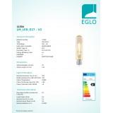 EGLO 11554 | E27 3,5W -> 22W Eglo hriadeľ T32 LED svetelný zdroj filament 220lm 2200K 360° CRI>80
