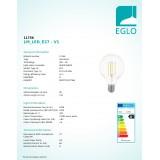 EGLO 11756 | E27 8W -> 75W Eglo veľká guľa G95 LED svetelný zdroj filament 1055lm 2700K 320° CRI>80
