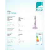 EGLO 49311 | Vintage-1+1 Eglo stolové svietidlo - bez tienidla 26cm prepínač na vedení 1x E14 starožitné tmavošedé