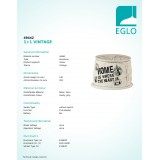 EGLO 49442 | Vintage-1+1 Eglo clona tienidlo E14 / E27 bežové, sivé