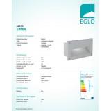 EGLO 88575 | Zimba Eglo zabudovateľné svietidlo 227x127mm 1x E14 IP44 strieborný, saténový