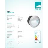 EGLO 95233   ZimbaLed Eglo zabudovateľné svietidlo Ø125mm 1x LED 320lm 4000K IP65 strieborný