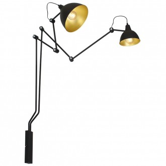ALDEX 843D | Aida-Bibi Aldex rameno stenové svietidlo otočné prvky 2x E27 čierna, zlatý