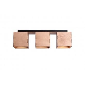 ALDEX 982PL/E | Bit-AL Aldex stropné svietidlo 3x GU10 drevo, čierna