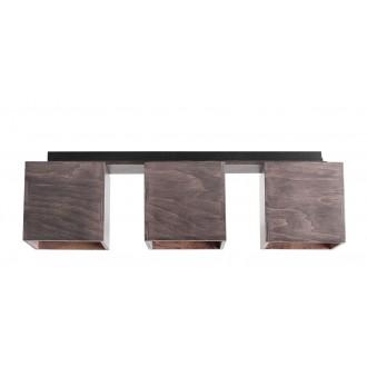 ALDEX 982PL/E21 | Bit-AL Aldex stropné svietidlo 3x GU10 tmavé drevo, čierna