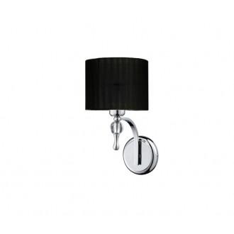 AZZARDO 0501 | Impress-AZ Azzardo rameno stenové svietidlo 1x E27 chróm, čierna, krištáľ