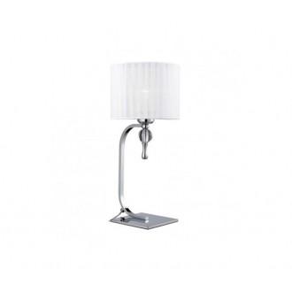 AZZARDO 1107 | Impress-AZ Azzardo stolové svietidlo 42cm prepínač 1x E27 chróm, biela, krištáľ