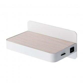 DE MARKT 492025901 | Cottbus De Markt stenové svietidlo prepínač USB prijímač 1x LED 350lm 3000K biela, drevo