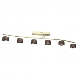 DE MARKT 725011006   Chill-out De Markt stropné svietidlo regulovateľná intenzita svetla 6x LED 3000lm 3000K matné zlato, drevo, opál