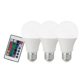 EGLO 10681 | E27 7,5W -> 40W Eglo normálne A60 LED svetelný zdroj RGB-WW 470lm 3000K regulovateľná intenzita svetla, meniace farbu, 3 dielna súprava diaľkový ovládač CRI>80