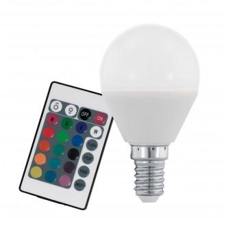 EGLO 10682 | E14 4W -> 28W Eglo malá guľa P45 LED svetelný zdroj RGB-WW 300lm 3000K regulovateľná intenzita svetla, meniace farbu diaľkový ovládač CRI>80