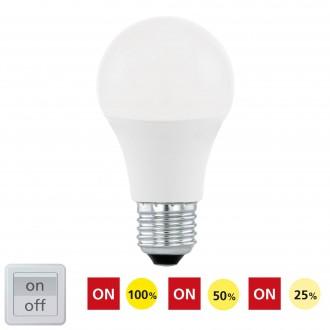 EGLO 11561 | E27 10W -> 60W Eglo normálne A60 LED svetelný zdroj Step Dim. 806lm 3000K regulovateľná intenzita svetla impulzový prepínač 200° CRI>80