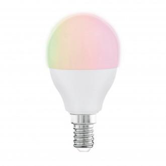 EGLO 11857 | E14 5W -> 35W Eglo malá guľa P45 LED svetelný zdroj RGBTW múdre osvetlenie 470lm 2700 <-> 6500K regulovateľná intenzita svetla, nastaviteľná farebná teplota, meniace farbu, na diaľkové ovládanie CRI>80