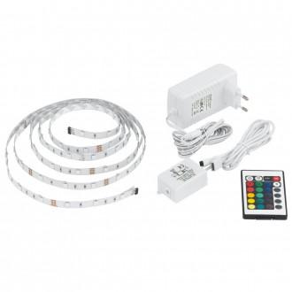 EGLO 13532 | Eglo_LS_Basic Eglo LED pásy RGB svietidlo diaľkový ovládač regulovateľná intenzita svetla, meniace farbu 1x LED RGBK biela