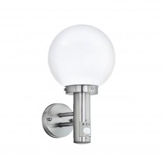 EGLO 27126 | Nisia Eglo stenové svietidlo pohybový senzor 1x E27 IP44 zušľachtená oceľ, nehrdzavejúca oceľ, biela