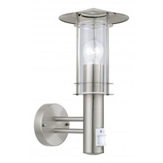 EGLO 30185 | Lisio Eglo rameno stenové svietidlo pohybový senzor 1x E27 IP44 zušľachtená oceľ, nehrdzavejúca oceľ, priesvitná