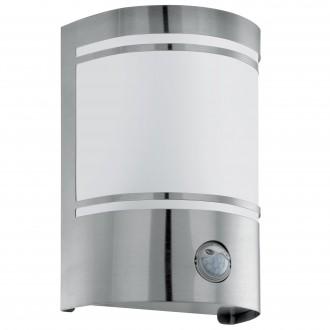 EGLO 30192 | Cerno Eglo stenové svietidlo pohybový senzor 1x E27 IP44 zušľachtená oceľ, nehrdzavejúca oceľ, biela
