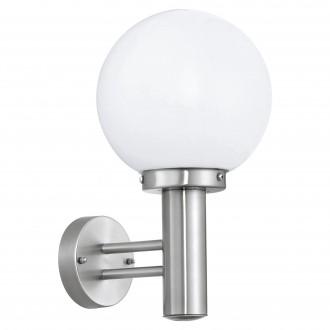 EGLO 30205 | Nisia Eglo stenové svietidlo 1x E27 IP44 zušľachtená oceľ, nehrdzavejúca oceľ, biela