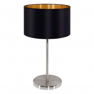 EGLO 31627 | Eglo-Maserlo-B Eglo stolové svietidlo 42cm prepínač na vedení 1x E27 lesklá čierna, zlatý, matný nikel