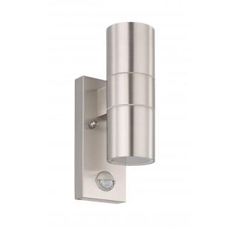 EGLO 32898 | Riga-5 Eglo stenové svietidlo hriadeľ pohybový senzor 2x GU10 480lm 3000K IP44 zušľachtená oceľ, nehrdzavejúca oceľ, priesvitná
