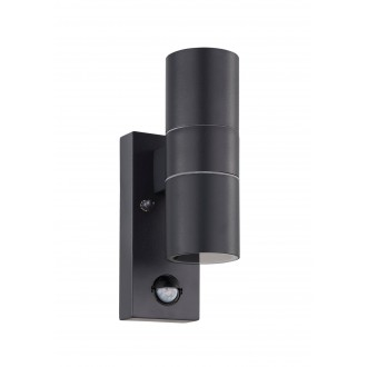 EGLO 32899 | Riga-5 Eglo stenové svietidlo hriadeľ pohybový senzor 2x GU10 480lm 3000K IP44 antracit, priesvitná