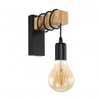 EGLO 32917 | Townshend Eglo rameno stenové svietidlo 1x E27 čierna, hnedá