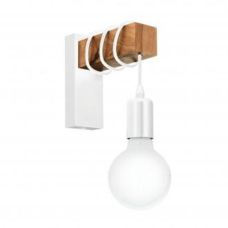 EGLO 33162 | Townshend Eglo rameno stenové svietidlo 1x E27 biela, hnedá