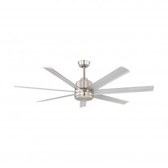 EGLO 35021 | Azar-60 Eglo ventilátor stropné diaľkový ovládač nastaviteľná výška saténový nike, leštený hliník