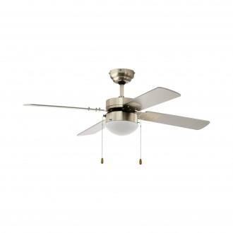 EGLO 35041 | Gelsina Eglo svietidlo s ventilátorom stropné prepínač na ťah 1x E14 saténový nike, strieborný, biela