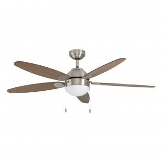 EGLO 35042   Susale Eglo svietidlo s ventilátorom stropné prepínač na ťah 1x E14 saténový nike, hnedá, svetlo hnedý