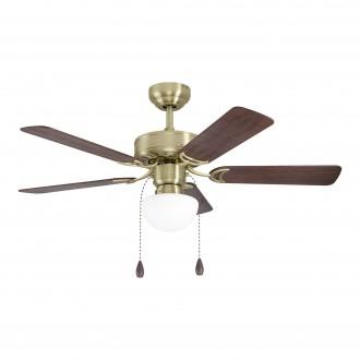 EGLO 35075 | Cadiz-EG Eglo svietidlo s ventilátorom stropné prepínač na ťah na diaľkové ovládanie 1x E27 bronzová, orech, dub