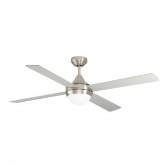 EGLO 35083 | Varadero Eglo svietidlo s ventilátorom stropné diaľkový ovládač časový spínač 2x E27 saténový nike, strieborný, dub