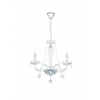 EGLO 39098 | Basilano Eglo luster svietidlo 3x E14 chróm, priesvitná