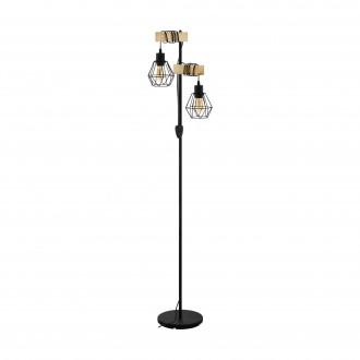 EGLO 43137 | Townshend-5 Eglo stojaté svietidlo 166,5cm prepínač na vedení 2x E27 čierna, natur, hnedá