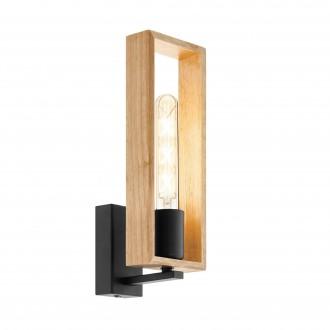 EGLO 49698 | Littleton Eglo rameno stenové svietidlo 1x E27 čierna, hnedá, drevo