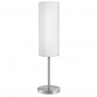 EGLO 85981 | Troy3 Eglo stolové svietidlo 46cm prepínač na vedení 1x E27 matný nikel, biela, saténový