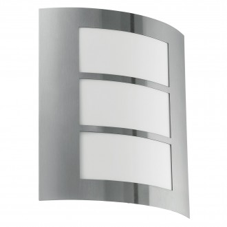 EGLO 88139 | City Eglo stenové svietidlo 1x E27 IP44 zušľachtená oceľ, nehrdzavejúca oceľ, biela