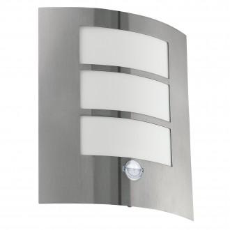 EGLO 88142 | City Eglo stenové svietidlo pohybový senzor 1x E27 IP44 zušľachtená oceľ, nehrdzavejúca oceľ, biela