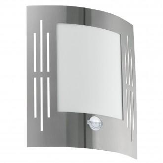 EGLO 88144 | City Eglo stenové svietidlo pohybový senzor 1x E27 IP44 zušľachtená oceľ, nehrdzavejúca oceľ, biela