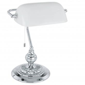 EGLO 90968 | Banker Eglo stolové svietidlo 39cm prepínač na ťah 1x E27 chróm, biela