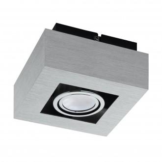 EGLO 91352 | Loke1 Eglo stenové, stropné svietidlo otáčateľný svetelný zdroj 1x GU10 400lm 3000K leštený hliník, čierna