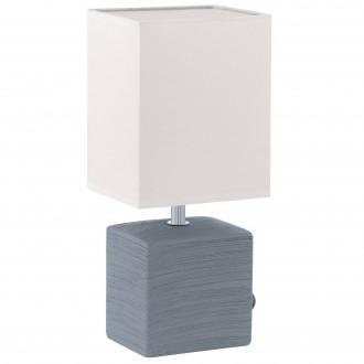 EGLO 93044 | Mataro Eglo stolové svietidlo 30cm prepínač na vedení 1x E14 sivé, biela
