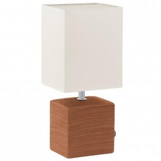 EGLO 93045 | Mataro Eglo stolové svietidlo 30cm prepínač na vedení 1x E14 hnedá, biela