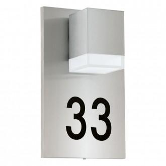 EGLO 93369 | Pardela_1 Eglo stenové svietidlo 1x LED 160lm 3000K IP44 zušľachtená oceľ, nehrdzavejúca oceľ