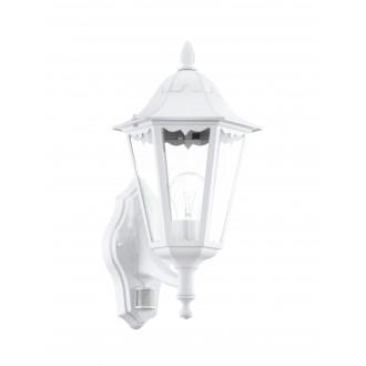 EGLO 93447 | Navedo Eglo rameno stenové svietidlo pohybový senzor 1x E27 IP44 biela, priesvitná