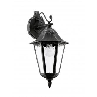 EGLO 93456 | Navedo Eglo rameno stenové svietidlo 1x E27 IP44 čierna, starožitná strieborná, priesvitná