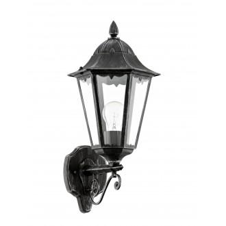 EGLO 93457 | Navedo Eglo rameno stenové svietidlo 1x E27 IP44 čierna, starožitná strieborná, priesvitná
