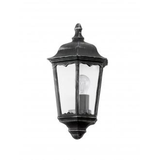 EGLO 93459 | Navedo Eglo stenové svietidlo 1x E27 IP44 čierna, starožitná strieborná, priesvitná
