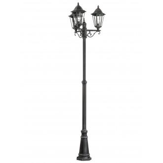 EGLO 93465 | Navedo Eglo stojaté svietidlo 220cm 3x E27 IP44 čierna, starožitná strieborná, priesvitná