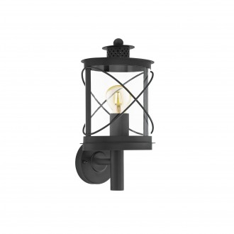 EGLO 94842   Hilburn Eglo rameno stenové svietidlo 1x E27 IP44 čierna, priesvitná